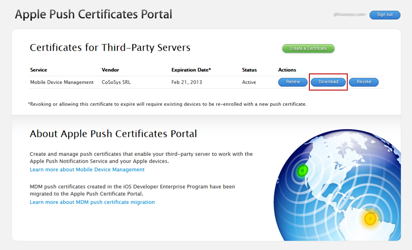 Mobile Device Management APNS certificate download