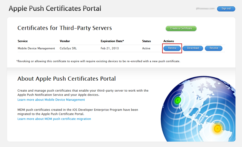 Mobile Device Management APNS certificate renew